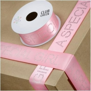 Diamanté Ribbon A Special Girl 40mm Wide 1M Length - Pink