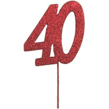 Glitter Number Cake Topper Pic Pick Red 40